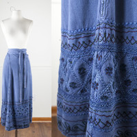 Indian Wrap Skirt | Vintage 70s Skirt High Waisted Skirt Maxi Skirt Festival Boho Chic Hippie Skirt Gypsy Skirt Ethnic Skirt Swim Cover Up
