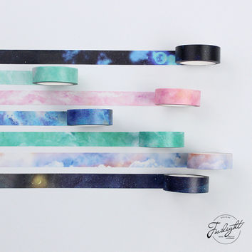 15MM*8M 1 Roll MY DREAM FANTACY Series Japanese Washi Tape Polar Light Starry Masking Tape Adhesive Tape DIY Decorative Sticker