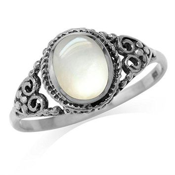 White Mother Of Pearl Inlay 925 Sterling Silver Filigree Victorian Style Ring