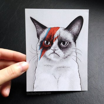 Grumpy Cat as David Bowie, Grumpy Bowie, Blank Post Card / Mini Art Print, Set of 2