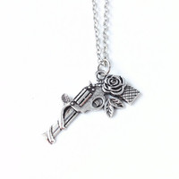 SALE Guns and Roses Silver Necklace,Guns n Roses Necklace,Gun Rose Necklace,Gun Necklace,guns n roses