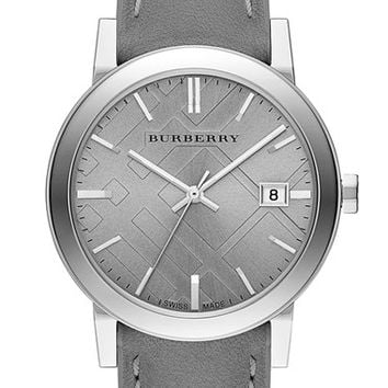 Women's Burberry 'New Classic' Check Stamped Leather Strap Watch, 38mm
