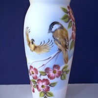 Fenton Glass White Chickadees and Dogwood Bird Flower Vase by J. K. Spindler Ltd Ed #2 of 5!