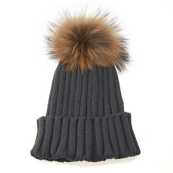 LUX FUR POM BEANIE DARK GREY