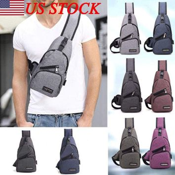 Men Casual Small Sling Bags Chest Waist Pack Bag Travel Pocket Outdoor Sport Bag