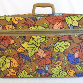 Leaves suitcase/ vintage leaf luggage/ Brown and green canvas suitcase/ leaves travel case