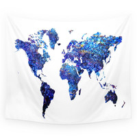Society6 World Map Blue Purple Wall Tapestry