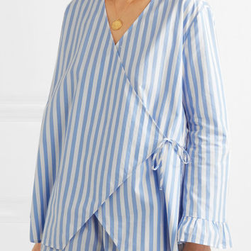 GANNI - Swimton striped cotton wrap top