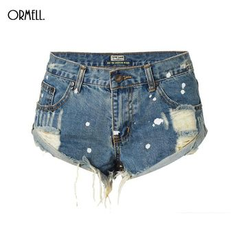 ORMELL Vintage Ripped Hole Fringe Blue Denim Shorts Women Casual Painting Point Pocket Jeans Shorts 2017 Summer Girl Hot Shorts