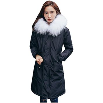 Partiss Women Fur Hooded Down coat Long Warm Padded Parka Outwear Jacket