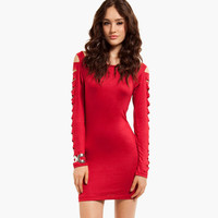 Long Sleeve Cut Out Bandage Bodycon Dress