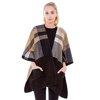 Camel Fleece Plaid Pockets Ruana Cardigan Poncho