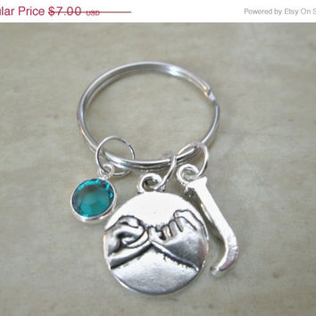 ON SALE Pinky Promise Keychain With Birthstone And Initial Charm, Pinky Swear Keychain,  Best friends, Pinky Promise Key Chains