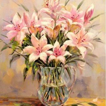 Hot Selling Frameless Lily Picture On Wall Acrylic Oil Painting By Numbers Flowers Home Decor Drawing Hand Unique Gifts 40*50cm