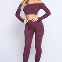 Heather Lounge Pant Set - Dark Plum