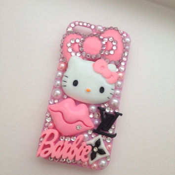 Sparkly Pink Bling Barbie iPhone 5 Protective Cell Phone Case Cover