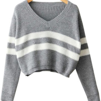 Grey Striped Crop Sweater