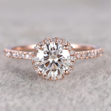 1ct brilliant Moissanite Engagement ring Rose gold,Diamond wedding band,14k,6.5mm Round Cut,Gemstone Promise Bridal Ring,Halo,Anniversary