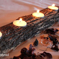 Log Candle Holder Rustic Wedding Cabin Decor Table Piece Slab Ash Wood
