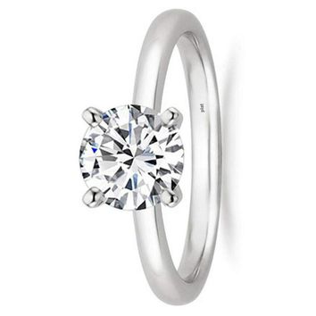 .1/2 - 2 Carat GIA Certified Platinum Solitaire Round Cut Diamond Engagement Ring (G-H Color, VS1-VS2 Clarity)