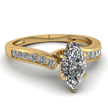 0.76ct Marquise Engagement Ring  Marquise cut Diamond Engagement Ring
