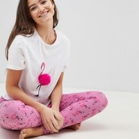 ASOS DESIGN Pompom Flamingo Tee And Legging Pj Set at asos.com