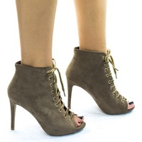 Berlin207 Lace Up Ankle Bootie w High Heel & Peep Toe