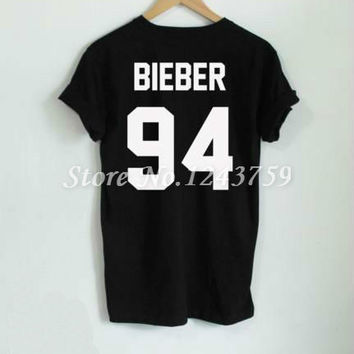 JUSTIN BIEBER 94 Back Letters Print Women T shirt Cotton Casual Funny Shirt For Lady White Black Gray Top Tee Hipster Z-285