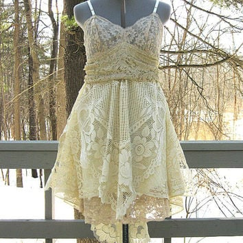 15% off! Tan and celadon green tattered dress, rag doll pixie dress, prom dress, alternative wedding dress, fairy dress, fey dress, woodland