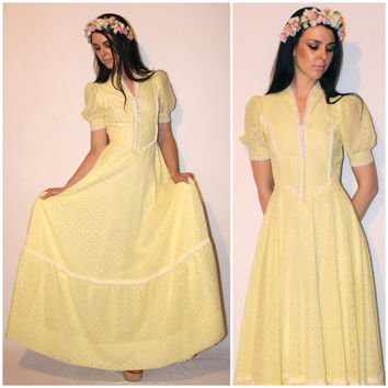 Vintage BOHO Maxi Dress, Pastel Yellow Floral Cutout Boho WEDDING PRAIRIE Dress, Belle of the Ball Bustier Gown