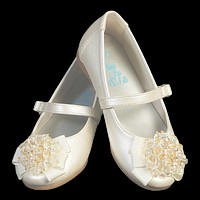Ivory Dress Shoes with Crystal Beads on the Toe & a Top Strap (Baby & Toddler Girls)