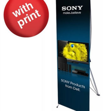 """Small X Banner Stand 24"""" x 63"""" with Vinyl Print"""