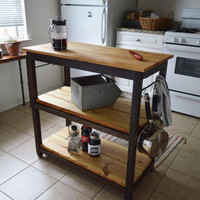 Handcrafted Kitchen Island Made with 100% Reclaimed Wood - Food safe Butchers block cutting board - Free Shipping (Kitchen Cart, Eco)