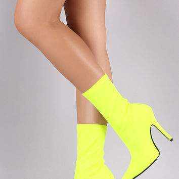 Fitted Elastane Pointy Toe Mid Calf Stiletto Boots | UrbanOG
