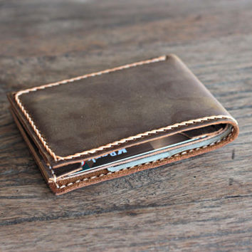 Mens Leather Bifold Wallet - Rustic Cowboy Grit Signature Hand-Stitching by JooJoobs [002]