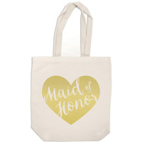 bridesmaid gift bag - metallic gold heart bag wedding calligraphy Maid of Honor canvas tote bag