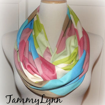 Rainbow Big Chevron Colors LONG Infinity Scarf Easter Spring Multicolor Blues Pinks Green and Brown on Cream Knit Fabric Women's Accessories