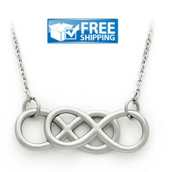 "Unisex Gift - Double Infinity Purity Necklace, 18"" Chains Included"