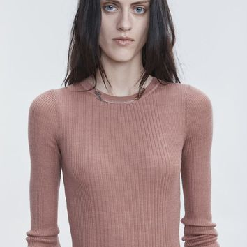 Alexander Wang RIB LONG SLEEVE TOP TOP | Official Site