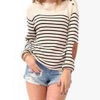 Striped Elbow Patch Sweater
