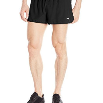 Mizuno Outlaw Men's 1.5-inch Split Running Shorts - Black, X-Large