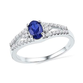 10kt White Gold Women's Oval Lab-Created Blue Sapphire Solitaire Diamond Ring 1.00 Cttw - FREE Shipping (US/CAN)