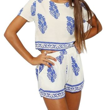 Kranda® 2 Piece Top Shorts Set Leaf Pattern Short Sleeves Loose T-shirt (Prime)