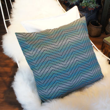 Decorative Chevron Pillow, Mint/Blue/Gray Green Chevron Pillow, Green Pillows, Guest room pillow,Kid Bedding,Cotton Pillows, Chevron Decor