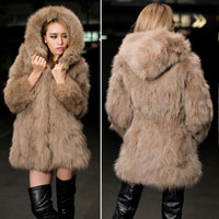 New Winter Womens Warming Thicken Faux Fox Fur Hooded Long Coat Outwear Jacket