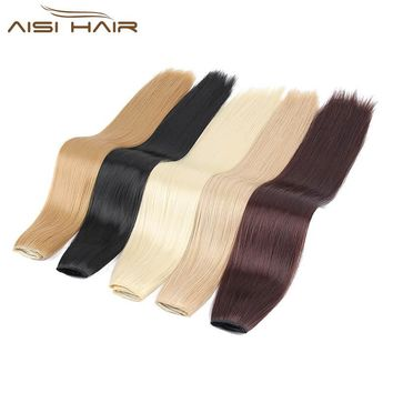 "I's a wig 24"" 16 Colors Silky Straight High Temperature Fiber Synthetic Clip in Hair Extensions for Women"