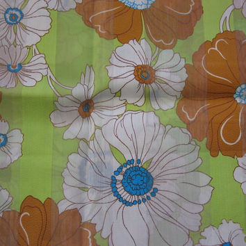 Retro Vintage Green & Brown Flower Power Fabric - 1 YARD, 16 INCHES