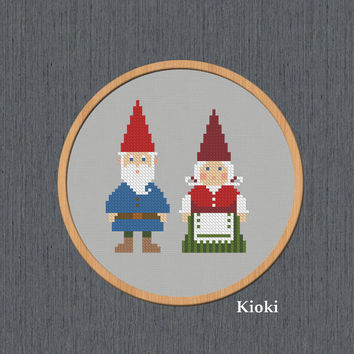 Cross Stitch Pattern Gnomes Instant Download