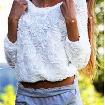 Women 3D Rose Flower Chiffon Pullover Mesh Lace Applique Jumper Blouse Shirt Top = 1916583172