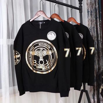 Boy London Unisex Personality Bronzing Eagle Letter Print Long Sleeve Sweater Couple Casual Pullover Tops